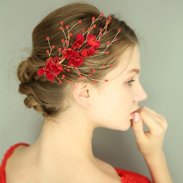 Filles Magnifique Fleur en soie épingles à cheveux avec Perle Vénitienne (Lot de 2)