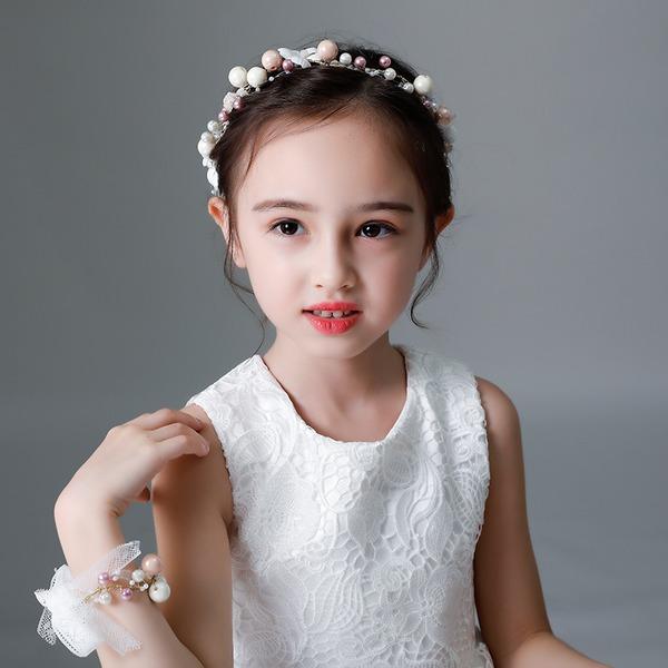 Enfants Beau Strass/Alliage/De faux pearl/Fleur en soie Tiaras avec Strass/Perle Vénitienne (Vendu dans une seule pièce)