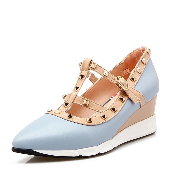 Kadın PVC Dolgu Topuk Takozlar Ile Perçin ayakkabı