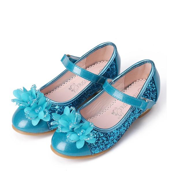 девичий Закрытый мыс дерматин низкий каблук На каблуках Обувь для девочек с развальцовка горный хрусталь блестками На липучке Цветок