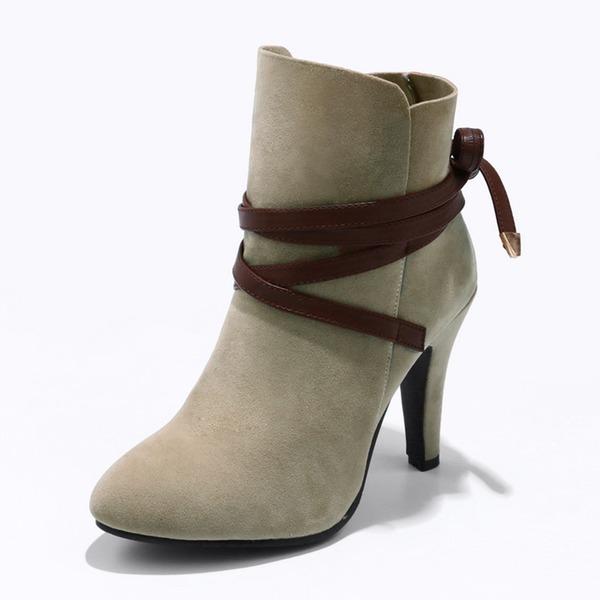 Frauen Veloursleder Stöckel Absatz Absatzschuhe Stiefel mit Zuschnüren Schuhe