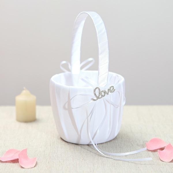 Hermoso Cesta de flores en Satén con Diamantes de imitación/Cintas