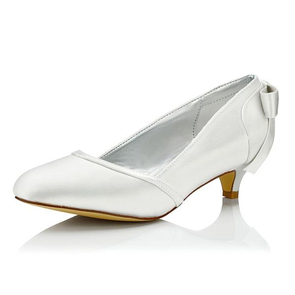 Mulheres Cetim Salto baixo Bombas Sapatos Tingíveis