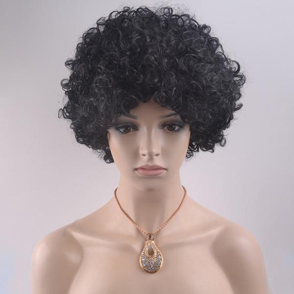 Curly Syntetisk Capless peruker 140g