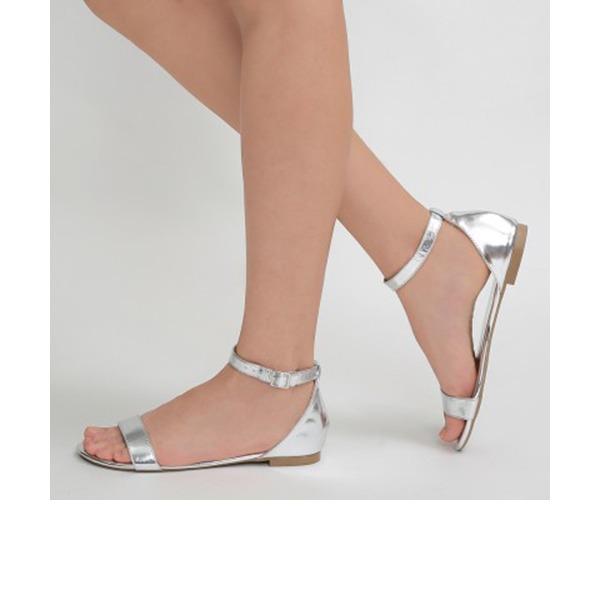 Women's PU Flat Heel Sandals Flats Peep Toe shoes