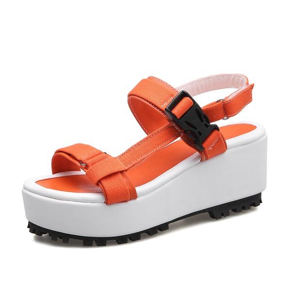 Frauen Leinwand Keil Absatz Sandalen Slingpumps Schuhe