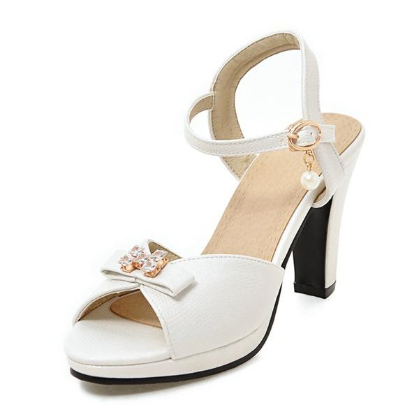 Vrouwen Kunstleer Stiletto Heel Sandalen Pumps Plateau Peep Toe Slingbacks met strik Imitatie Parel Gesp schoenen