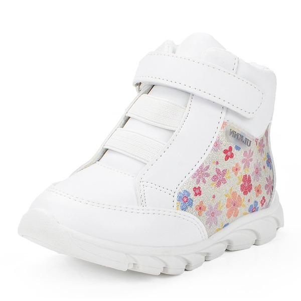 Misto Pelle vera Heel piatto Punta rotonda Sneakers Scarpe da Ginnastica & Atletica con Velcro