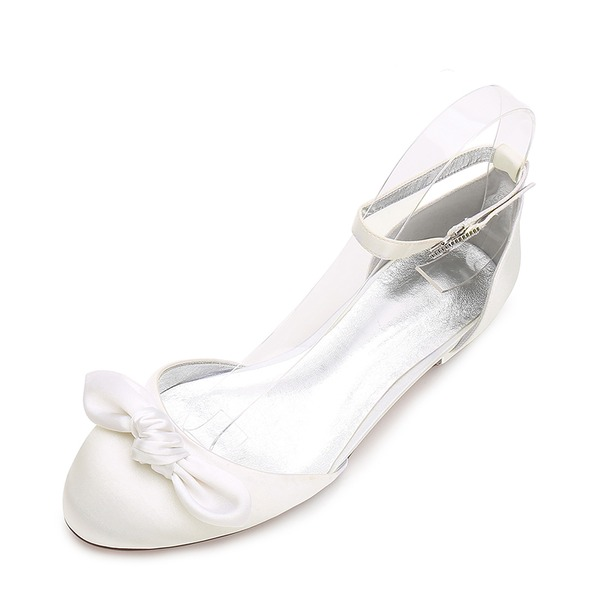 Women's Silk Like Satin Flat Heel Flats Sandals With Bowknot Buckle