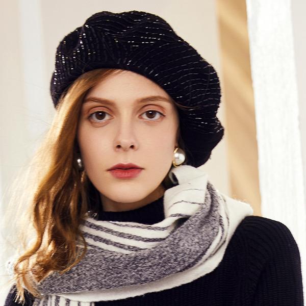 Damen Glamourös/Klassische Art/Elegant Wollen Baskenmütze Hut