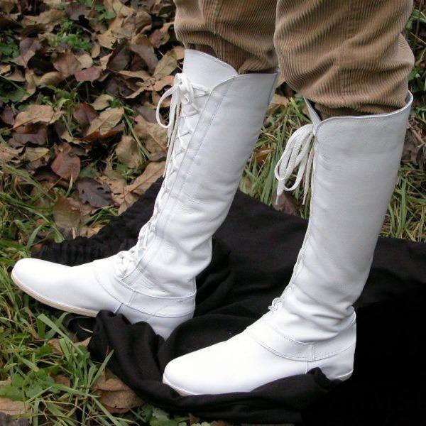 Kvinner Lær Flat Hæl Støvler Knehøye Støvler med Blondér sko