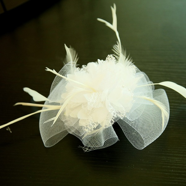 Dames Beau Feather/Fil net/Fleur en soie/Velours Chapeaux de type fascinator