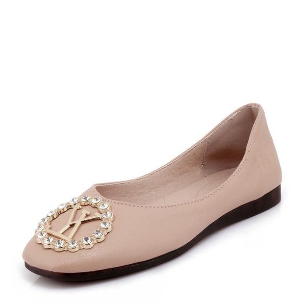 Frauen PVC Flascher Absatz Flache Schuhe mit Strass Schuhe
