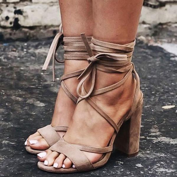 Vrouwen Suede Chunky Heel Sandalen Pumps Peep Toe met Vastrijgen schoenen