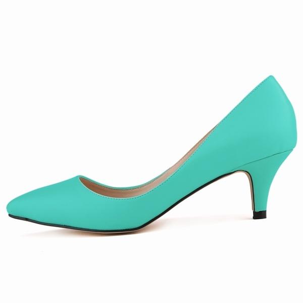 Женщины кожа Круглый зауженный каблук На каблуках Закрытый мыс обувь