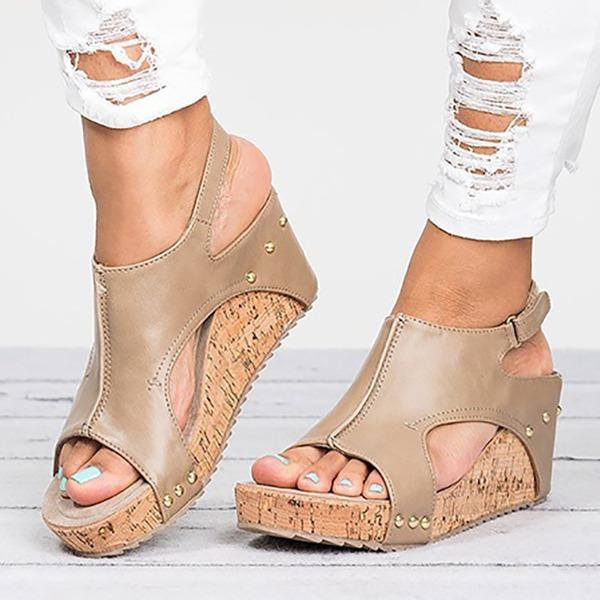Vrouwen Kunstleer Wedge Heel Sandalen Pumps Peep Toe Slingbacks met Klinknagel schoenen
