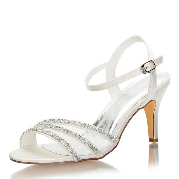 Kadın İpeksi Saten İnce Topuk Peep Toe Sandalet Ile Kristal