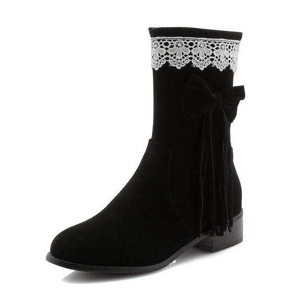 Kvinder Ruskind Lav Hæl Lukket Tå Støvler Mid Læggen Støvler med Bowknot Tassel sko