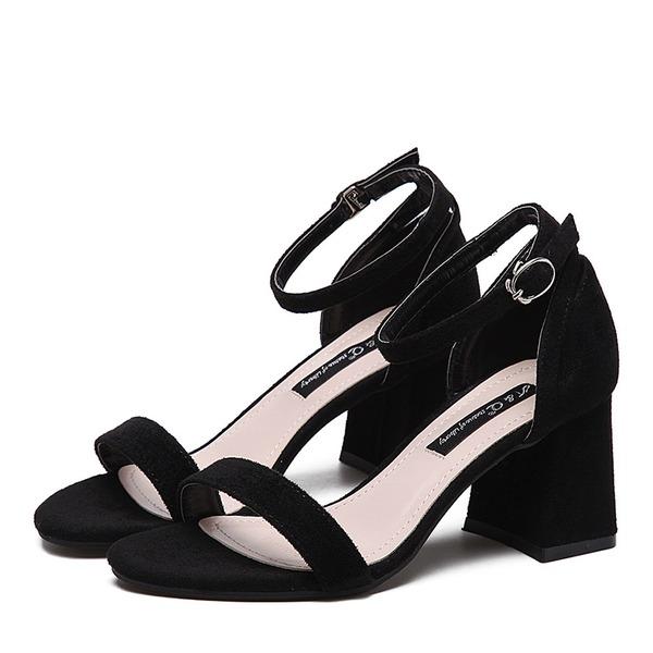 Vrouwen Suede Chunky Heel Pumps Peep Toe met Vastrijgen schoenen