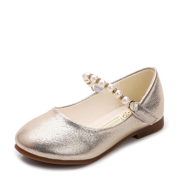 Jentas Lukket Tå Leather flat Heel Flate sko Flower Girl Shoes med Profilering