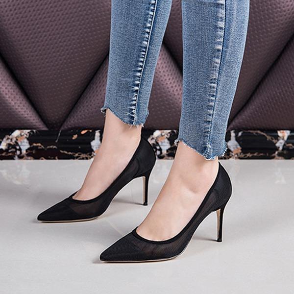 Mulheres Malha Salto agulha Bombas Fechados sapatos