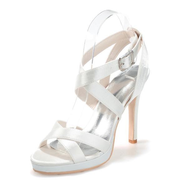 Women's Satin Stiletto Heel Peep Toe Platform Sandals Slingbacks With Buckle