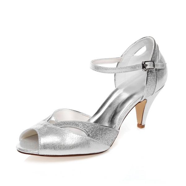 Vrouwen Kunstleer Cone Heel Peep Toe Sandalen