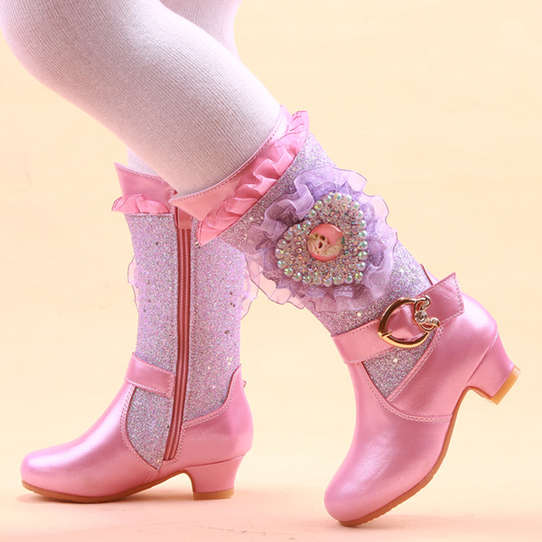 Girl's Mid-Calf Boots Leatherette Flower Girl Shoes With Flower Crystal