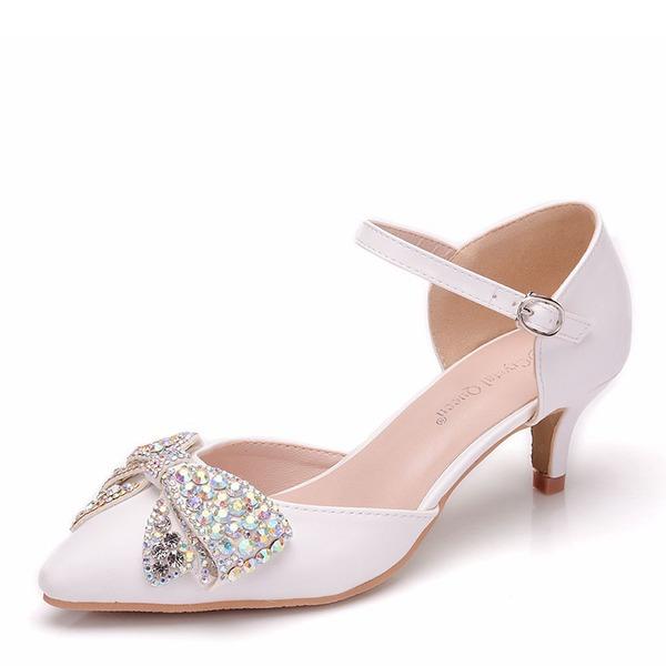 Vrouwen Kunstleer Low Heel Closed Toe Pumps Sandalen met strik Kristal