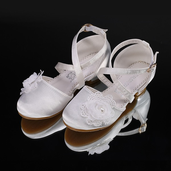 Flicka rund tå Stängt Toe Silk som Satin Platta Skor / Fritidsskor Sneakers & Athletic Flower Girl Shoes med Kardborre