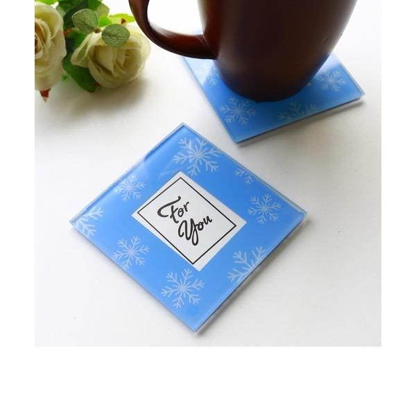 """""""Hora do chá""""/Lovely Quadrado Vidro Presentes para Festa de Chá (Conjunto de 2)"""