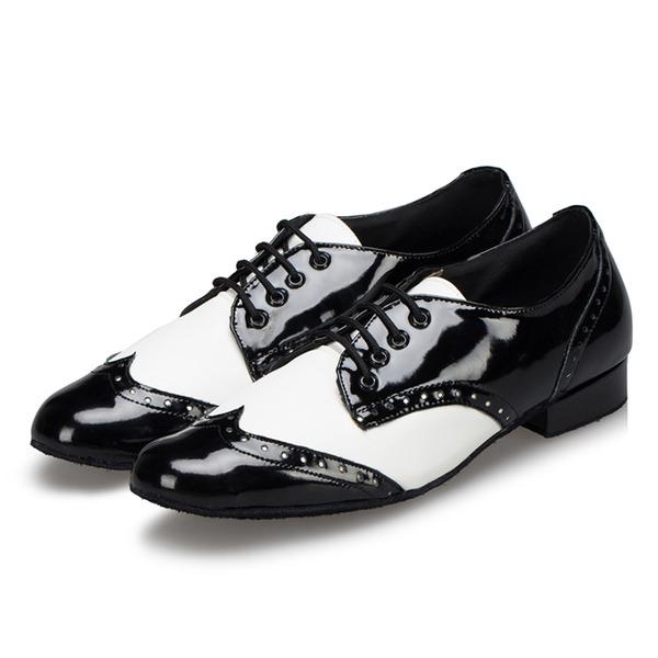 Herren Kunstleder Absatzschuhe Tanzschuhe Latin Ballsaal Swing Training Charakter Schuhe mit Zuschnüren Tanzschuhe
