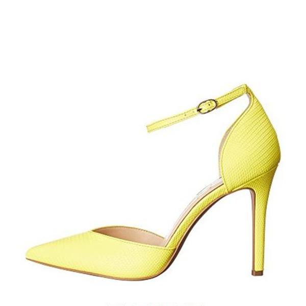 Frauen PU Stöckel Absatz Absatzschuhe Geschlossene Zehe mit Schnalle Schuhe