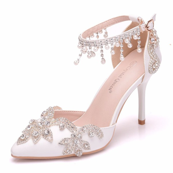 Women's Leatherette Spool Heel Closed Toe Pumps With Tassel Crystal