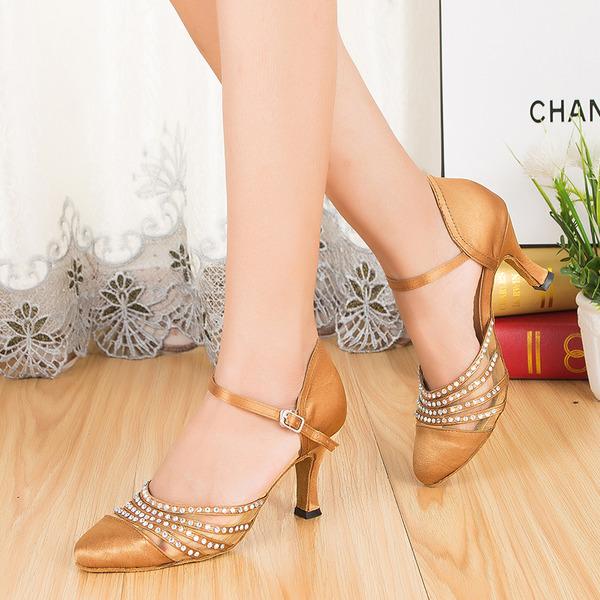 Women's Satin Ballroom With Rhinestone Buckle Dance Shoes