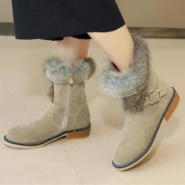 Vrouwen Suede Chunky Heel Snowboots met Gesp Rits schoenen