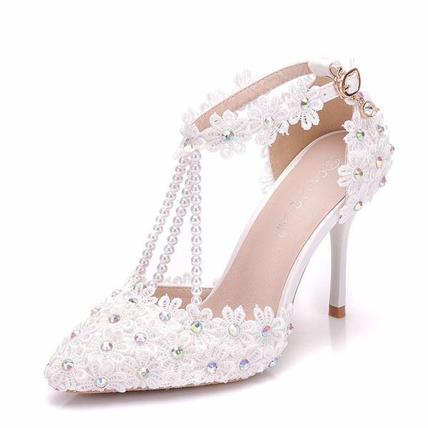 Femmes Similicuir Talon stiletto Sandales Escarpins avec Strass Motif appliqué Perle d'imitation chaussures