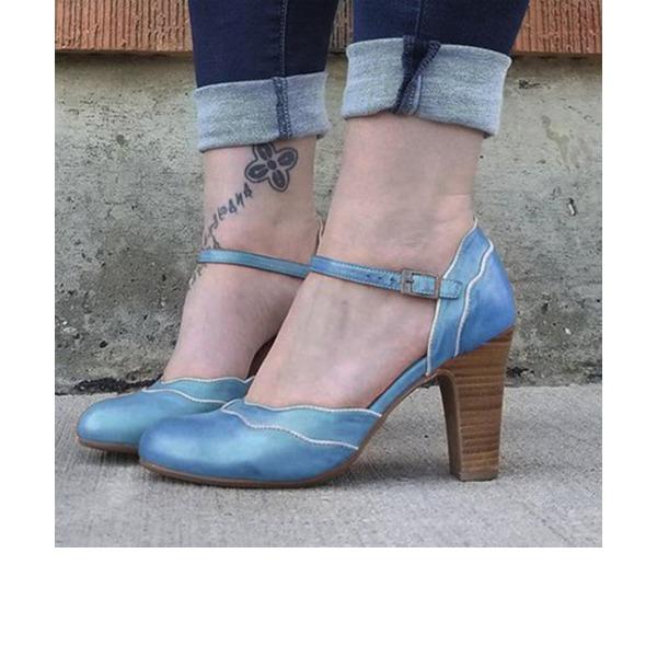 Dla kobiet PU Obcas Slupek Czólenka Z Klamra obuwie