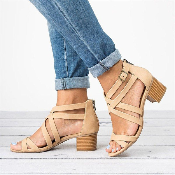 Women's Microfiber Leather Chunky Heel Sandals shoes