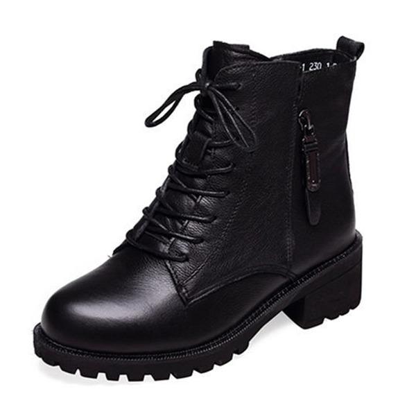 Kadın PU Kalın Topuk Kapalı Toe Bot Ayak bileği Boots Ile Fermuar Bağcıklı ayakkabı