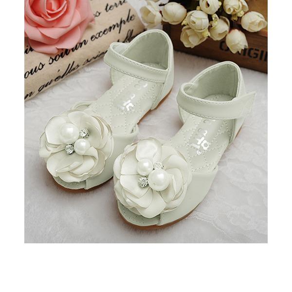 Mädchens Peep Toe Leder Flache Ferse Sandalen Flache Schuhe Blumenmädchen Schuhe mit Satin Schleife Klettverschluss Kristall