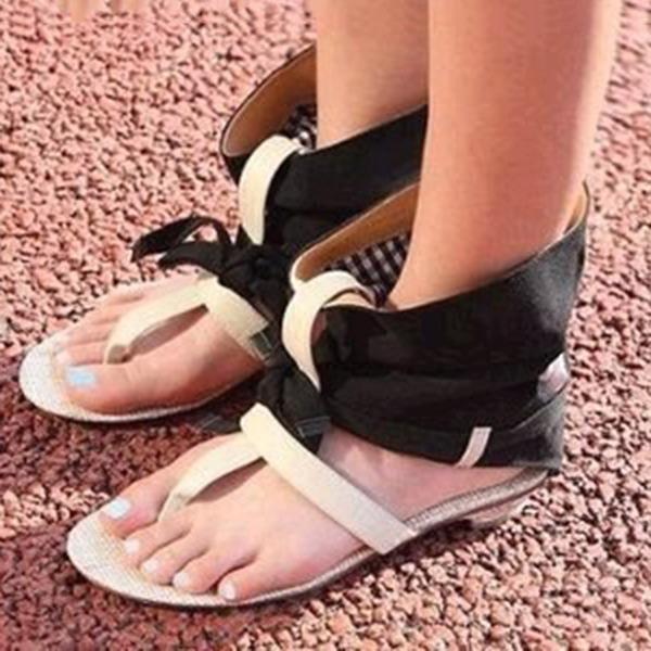 Frauen Kunstleder Stoff Niederiger Absatz Sandalen Peep Toe mit Bowknot Schuhe