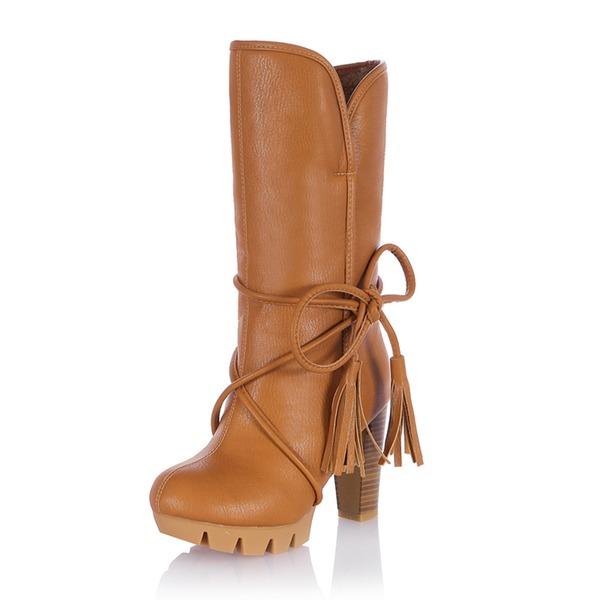 Frauen Kunstleder Stöckel Absatz Absatzschuhe Geschlossene Zehe Stiefel Kniehocher Stiefel Stiefel-Wadenlang Schneestiefel Reitstiefel mit Zuschnüren Quaste Schuhe