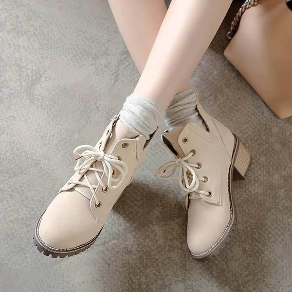 Mulheres Microfibra Couro Salto robusto Bombas Botas أحذية