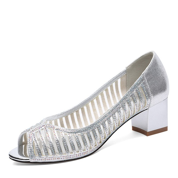 Vrouwen Kunstleer Mesh Low Heel Closed Toe