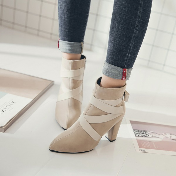 Women's Suede Chunky Heel Pumps Boots Ankle Boots With Ribbon Tie shoes