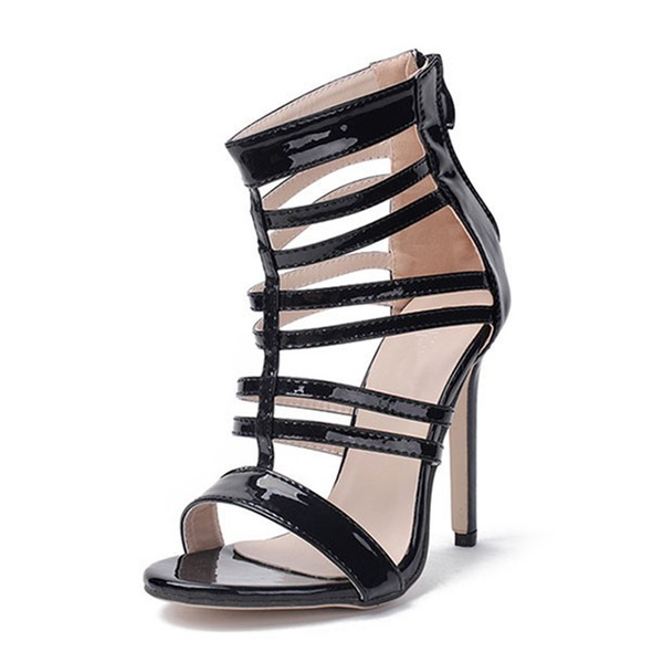 Mulheres PU Salto agulha Sandálias Bombas com Zíper sapatos