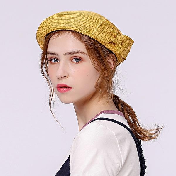 Señoras' Elegante Rafia paja Boina Sombrero/Sombrero de paja