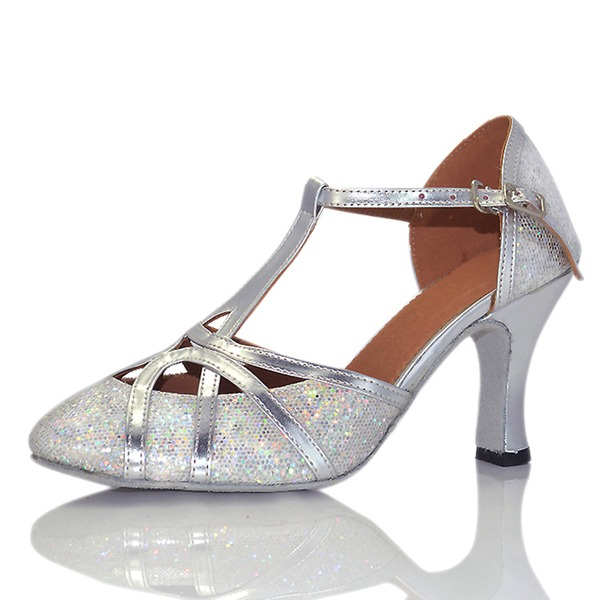 Women's Sparkling Glitter Heels Sandals Ballroom With T-Strap Buckle Hollow-out Dance Shoes