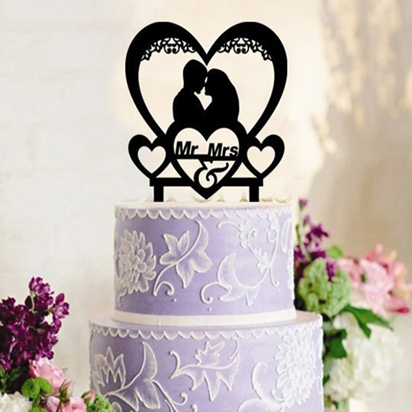 Kissing Couple Acrylic/Wood Cake Topper